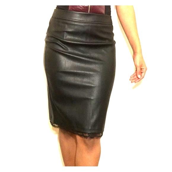 ea7917663 Guess Skirts   Nwt Black Vegan Leather Pencil Skirt   Poshmark